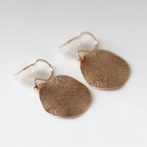 Gold Round Plate Earring | K10YG