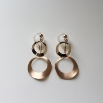 Gold Round Plate Connect Earring | K10YG
