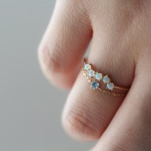 Blue Topaz Chain Ring | K10YG