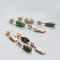 Jasper / Green Agate & Pearl Pierce