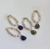 Color Stone & Pearl Hoop Pierce[SG]
