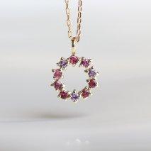 Pink Stone Necklace | K10YG