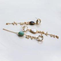 Color Stone & Pearl Long Pierce