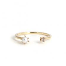 Pearl & Champagne Dia Fork Ring | K10YG