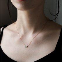 Rectangle Pave Diamond Necklace | K10YG