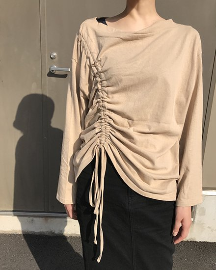 SHIRRING BORT NECK LONG T-SHIRT