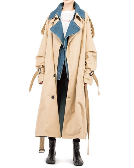 UNISEX OVERSIZE DENIM COMBINED TRENCH COAT