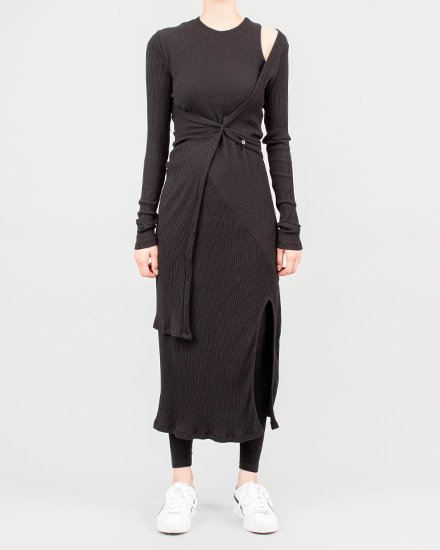 CARDIGAN LAYERED RIB DRESS