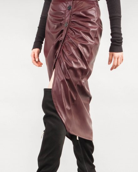 FRONT BUTTON GATHERED SKIRT