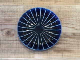 美濃焼き ぎやまん陶 茄子紺ブルー 六寸皿