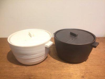 石川哲生さんの土鍋(黒・白) 3合焚き