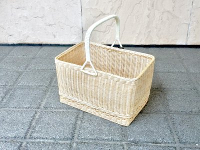 【松野屋】籐一本手買物かご角(大)