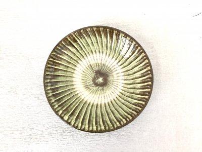 小鹿田焼 刷毛目皿 緑 6寸皿(坂本工窯)