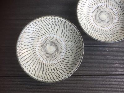 小鹿田焼 飛び鉋 7寸皿(坂本工窯)
