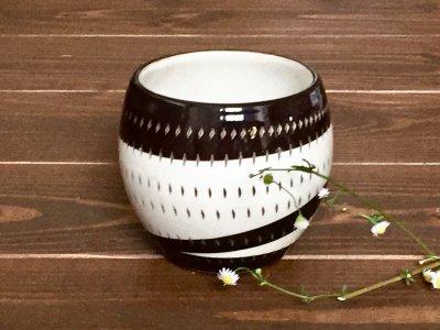 小石原焼 鶴見窯 カップ(白×黒 ドット)