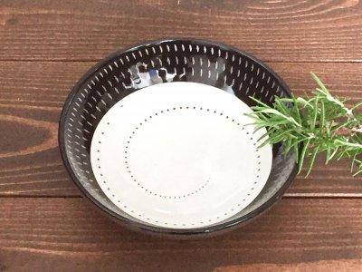 小石原焼 鶴見窯 取り鉢(黒/白 飛び鉋×白ドット)