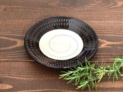 小石原焼 鶴見窯 4.5寸皿(白×黒 ドット白)