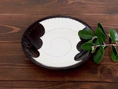 小石原焼 鶴見窯 6寸皿(雲・白/黒)