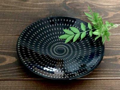 小石原焼 鶴見窯 5.5寸皿(黒 白ドット)