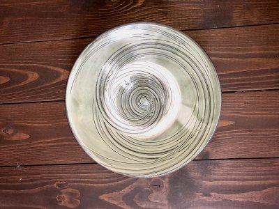 小鹿田焼 藁引き 緑 8寸皿(坂本工窯)