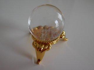 天然石 丸玉 水晶       24mm 台付き