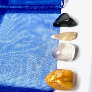 天然石 ヒーリングセット   トラベル(旅行運)イエロージャスパー・ブラックトルマリン・ムーンストーン・水晶