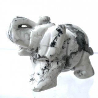 天然石 飾り物・置き物  ハウライト 象