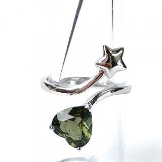 天然石指輪 モルダバイト ハート型 フリーサイズ シルバー925