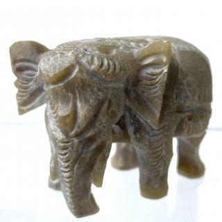 天然石 飾り物・置き物 ソープストーン 象