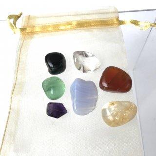 天然石 ヒーリングセット   チャクラ用7石 ブラックオブシディアン・カーネリアン・虹入りシトリン・フローライト・ブルーレースアゲート・アメジスト・水晶