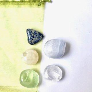 天然石 ヒーリングセット リフレッシュ(refresh)           アラゴナイト・フローライト・虹入りカルサイト・ブルーレースアゲート・ソーダライト