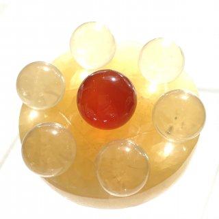 天然石 飾り物・置き物 七星陣 アラゴナイト 丸玉 カーネリアン、水晶