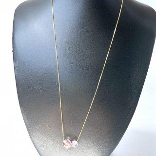 天然石アクセサリーシルバ−925ネックレス20インチ ゴールド加工  スーパーセブン・マリアライト