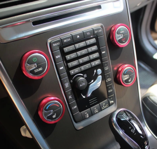 エアコンスイッチ用アルミデコラティブリング  ボルボ S60 V60 XC60 S80 V40