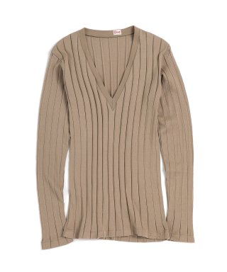 YOUNG & OLSEN BROAD RIB V NECK LS