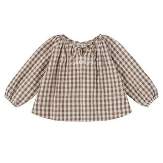 <img class='new_mark_img1' src='https://img.shop-pro.jp/img/new/icons20.gif' style='border:none;display:inline;margin:0px;padding:0px;width:auto;' />30%OFF Little Cotton Clothes - Olive blouse / gingham with embroidery