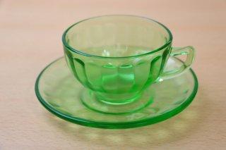 フェデラル カップ&ソーサー ウランガラス