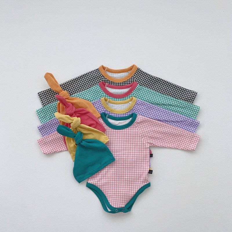 春新作/(OB)キャンディチェックロンパース2点セット(ロンパース+帽子)【お取り寄せ】