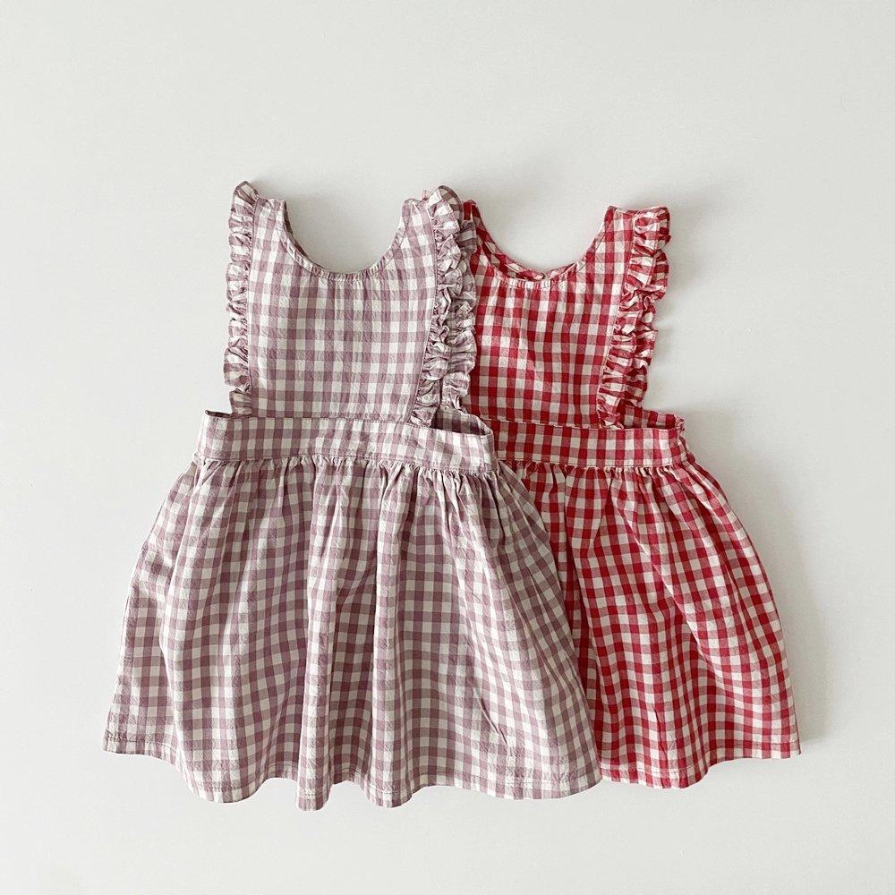 春新作/(RD)フリルチェックワンピース【お取り寄せ】