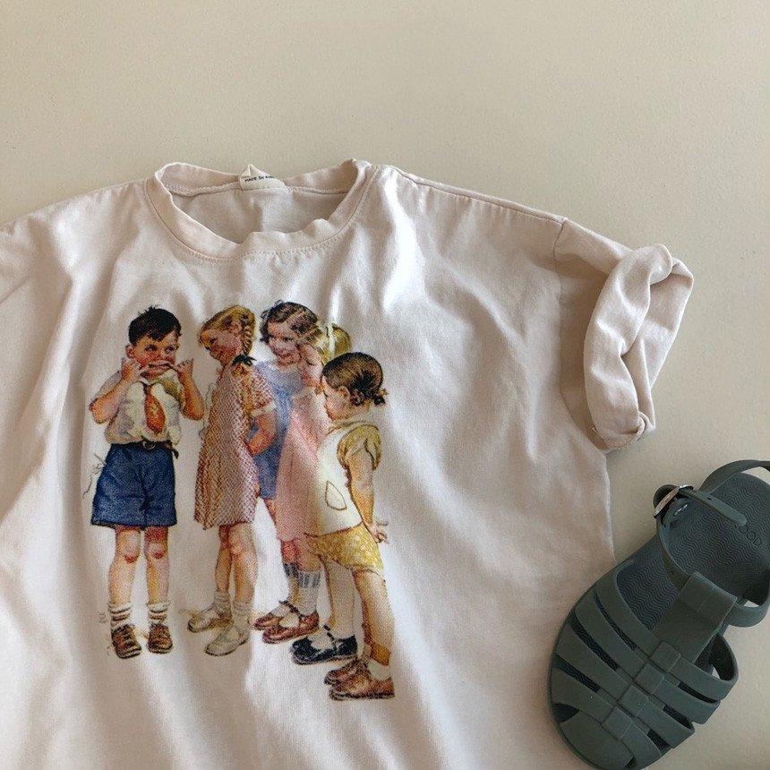 春新作/(LOV)ママとお揃いレトロキッズTシャツ【お取り寄せ】