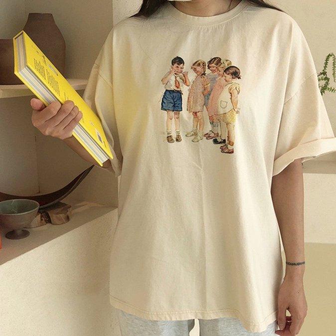 春新作/(LOV)レディース/お揃いレトロキッズTシャツ【お取り寄せ】