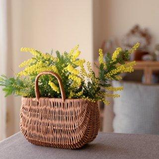 ラトビア 手編みの柳のかごバッグ S