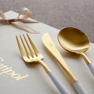 クチポール GOA ディナー6点セット  (ディナーナイフ・フォーク・スプーン 各2本) ホワイト マットゴールド 白化粧箱入り リボン掛け