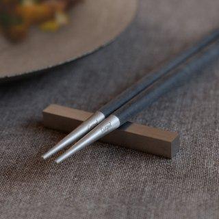 クチポール GOA 箸/箸置きセット ブラック/マットシルバー
