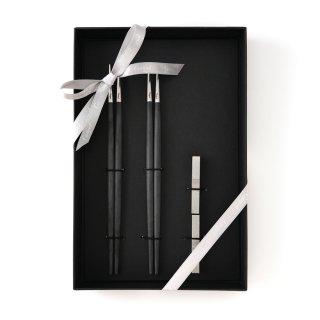 クチポール GOA 箸/箸置き2膳セット ブラック/マットシルバー