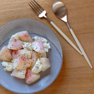 クチポール MIO デザート2点セット(デザートフォーク・スプーン 各1本) アイボリー マットシルバー