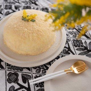 クチポール MIO デザート2点セット(デザートフォーク・スプーン 各1本) ホワイト マットゴールド