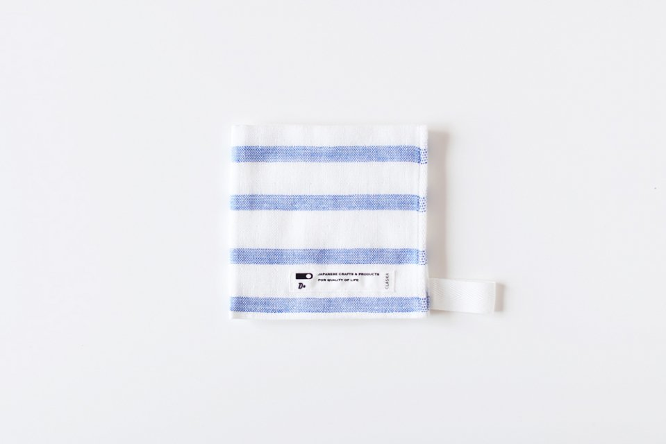 CLASKA/ボーダー/ハンドタオル(ブルー)