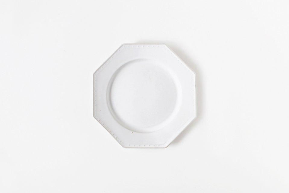 吉田健宗/白釉/オクトゴナル丸皿(小・14cm)