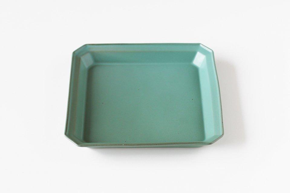 吉田健宗/色釉/リム角皿(濃緑)
